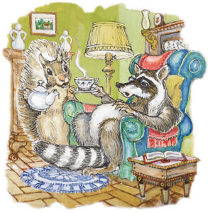 Two Racoon Sharing a cup of Team