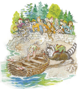People Watching Racoons in the River